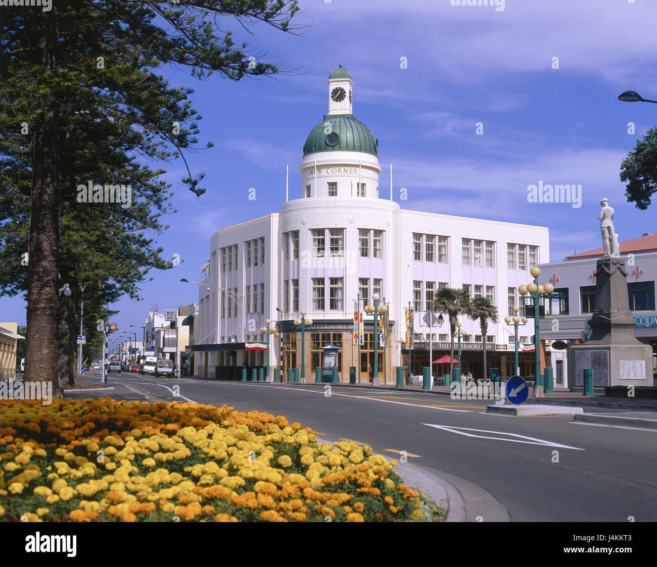 New Zealand, north island, Napier, hotel, street scene