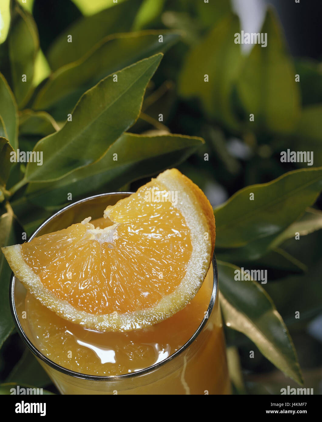 Glass, orange juice, Oragenspalte, leaves juice, fruit juice, fruit juice, orange juice, orange, Citrus sinensis, - Stock Image