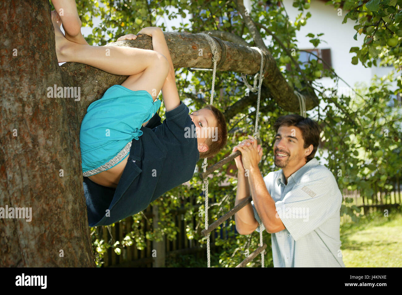 Garden, boy, barefoot, tree climb, watch father, family, man, Alone educating, son, child pay attention, play, skill, Stock Photo