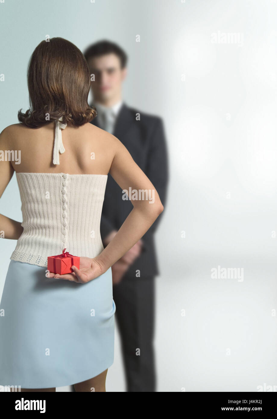 Couple Stand Towards Woman Present Hide Back Partnership Respect Falls In Love Friendship Eye Contact Surprise Birthday