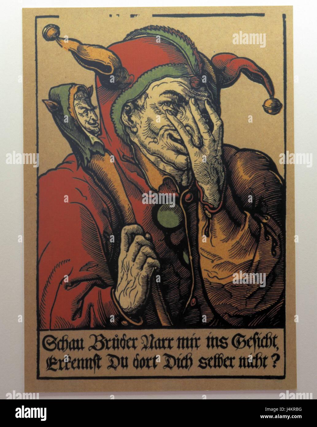 Museum, poster, Till Eulenspiegel Europa, Germany, Lower Saxony, nature reserve Elm-Lappwald, Schöppenstedt, - Stock Image