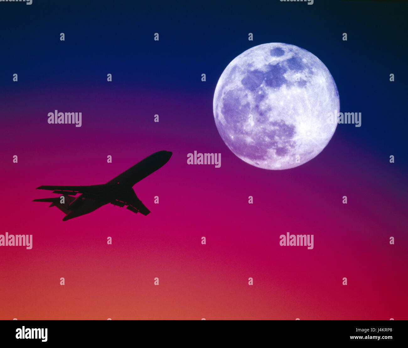 heavens evening tuning airplane full moon evening sky