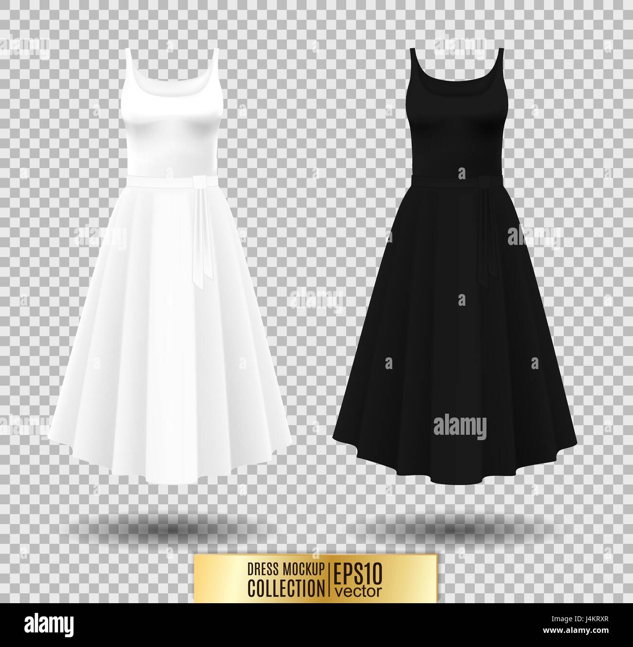 69068465546e94 Women's dress mockup collection. Dress with long pleated skirt. Realistic vector  illustration. Fully editable handmade mesh. Festive dress without sleeves.
