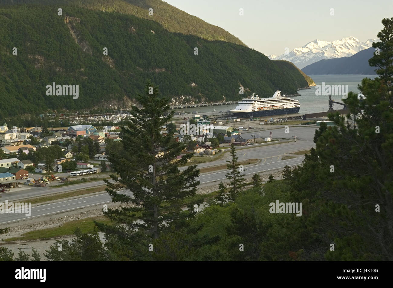 The USA, Alaska, Skagway, local view, harbour, cruise ship, Taiya Inlet North America, the United States of America, - Stock Image