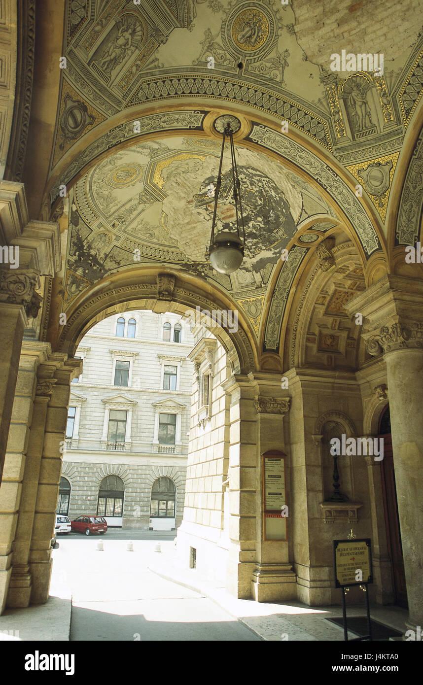 Hungary, Budapest, opera-house, input, vault Europe, Magyarország, Magyar Köztársaság, town, - Stock Image
