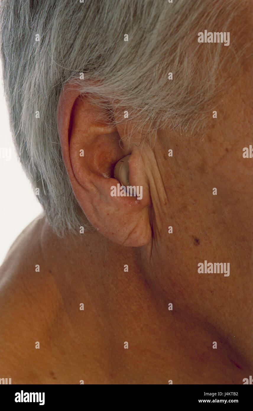 Boss, head, detail, ear, hearing aid, man, old, pensioner
