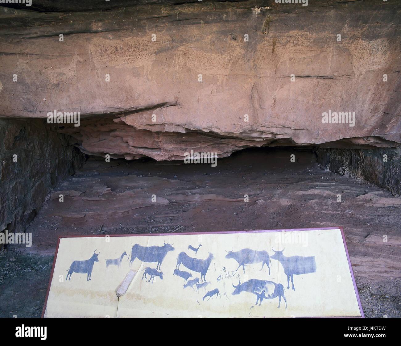Spain, Aragon, province of Teruel, Albarracin, prehistoric mural painting outside, area, Mediterranean Basin, prehistorically, - Stock Image