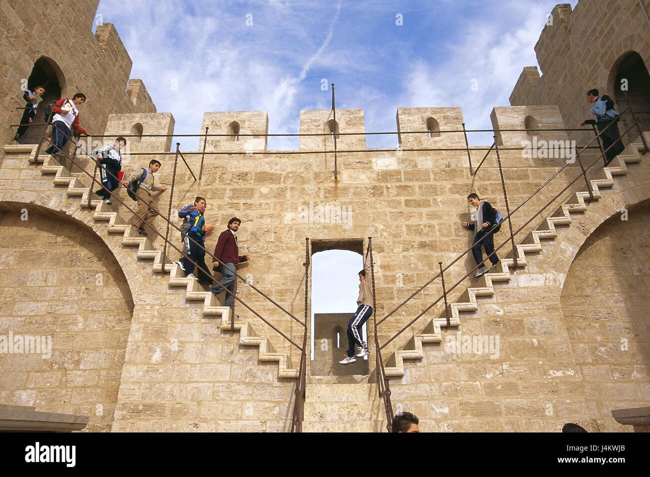 Spain, Valencia, town gate, Puerta de Serranos, stairs, visitor, no ...