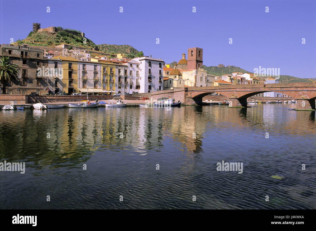 Italy, Sardinia, Bosa, town view Europe, the Mediterranean Sea, island, northwest coast, holiday resort, houses, - Stock Image