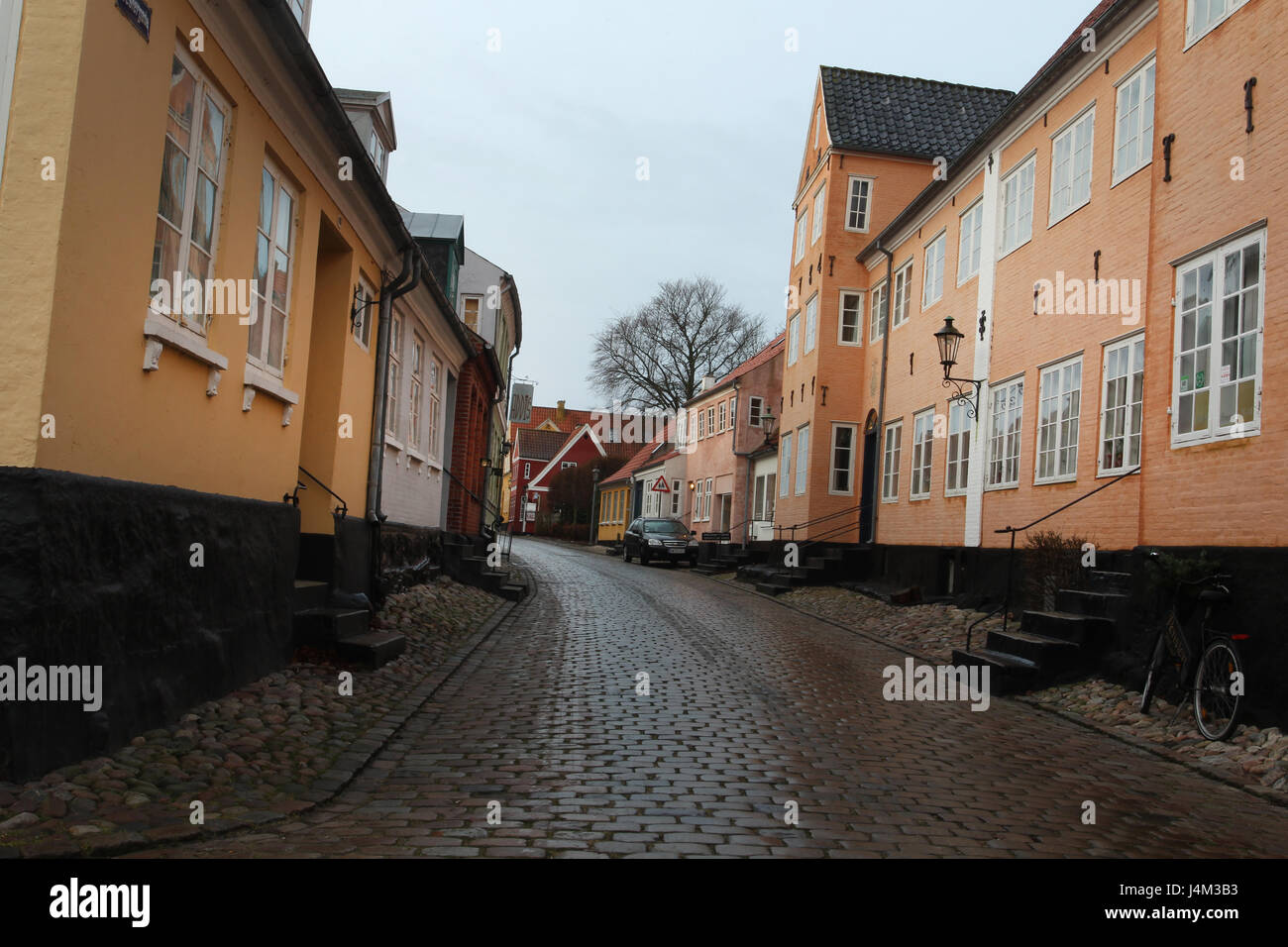 Streets and houses on Aero Island, Denmark. - Stock Image