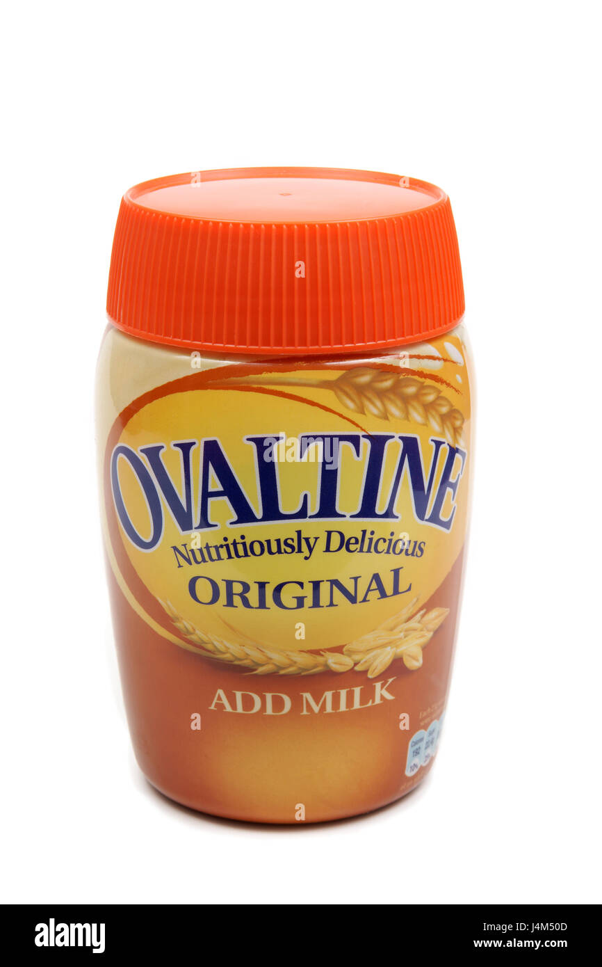 Ovaltine (Ovomaltine) a brand of milk flavoring made with barley malt extract & cocoa - Stock Image