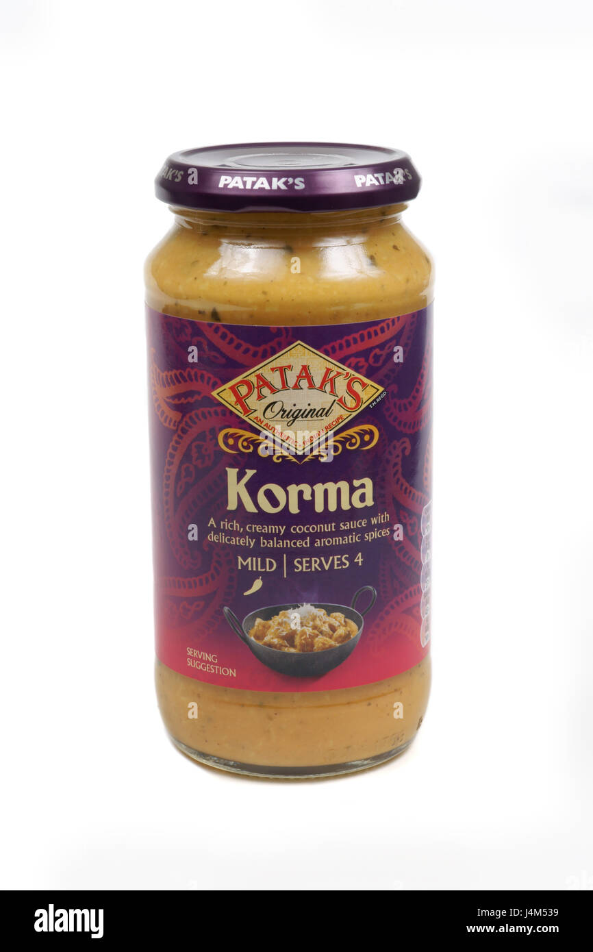 Patak's Korma cooking sauce part of the Patak's range of sauces owned by Associated British Foods - Stock Image