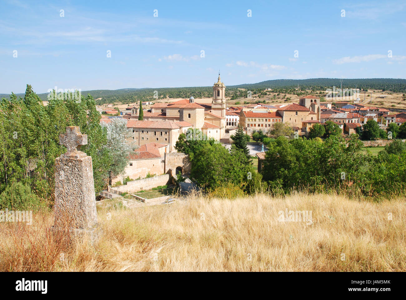 Overview. Santo Domingo de Silos, Burgos province, Castilla Leon, Spain. - Stock Image