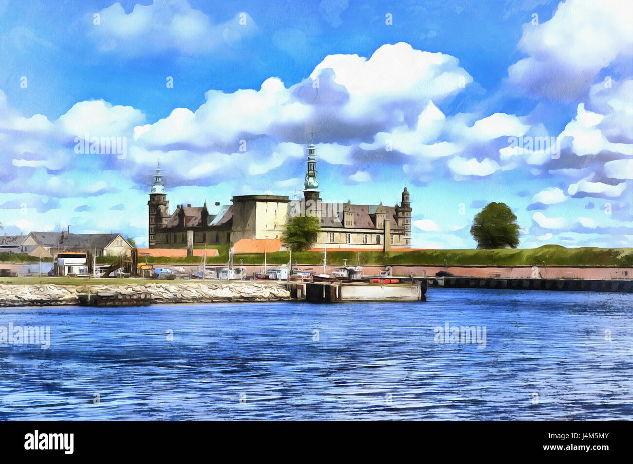 Colorful painting of Kronborg palace (Hamlets Elsinore Castle), Denmark - Stock Image