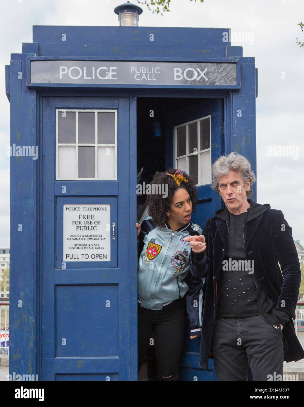 Peter Capaldi in costume as Dr. Who and Pearl Mackie as new companion Bill Potts promoting the new series of Dr. Who on the Southbank.  sc 1 st  Alamy & Peter Capaldi in costume as Dr. Who and Pearl Mackie as new Stock ...