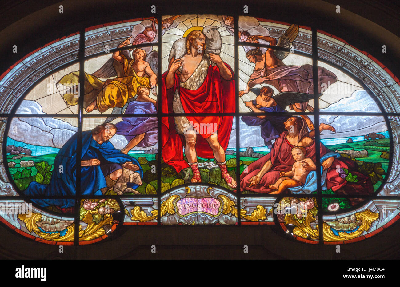 TURIN, ITALY - MARCH 13, 2017: The stained glass of Good Shepherd in Church Chiesa di Santo Tommaso by from year - Stock Image