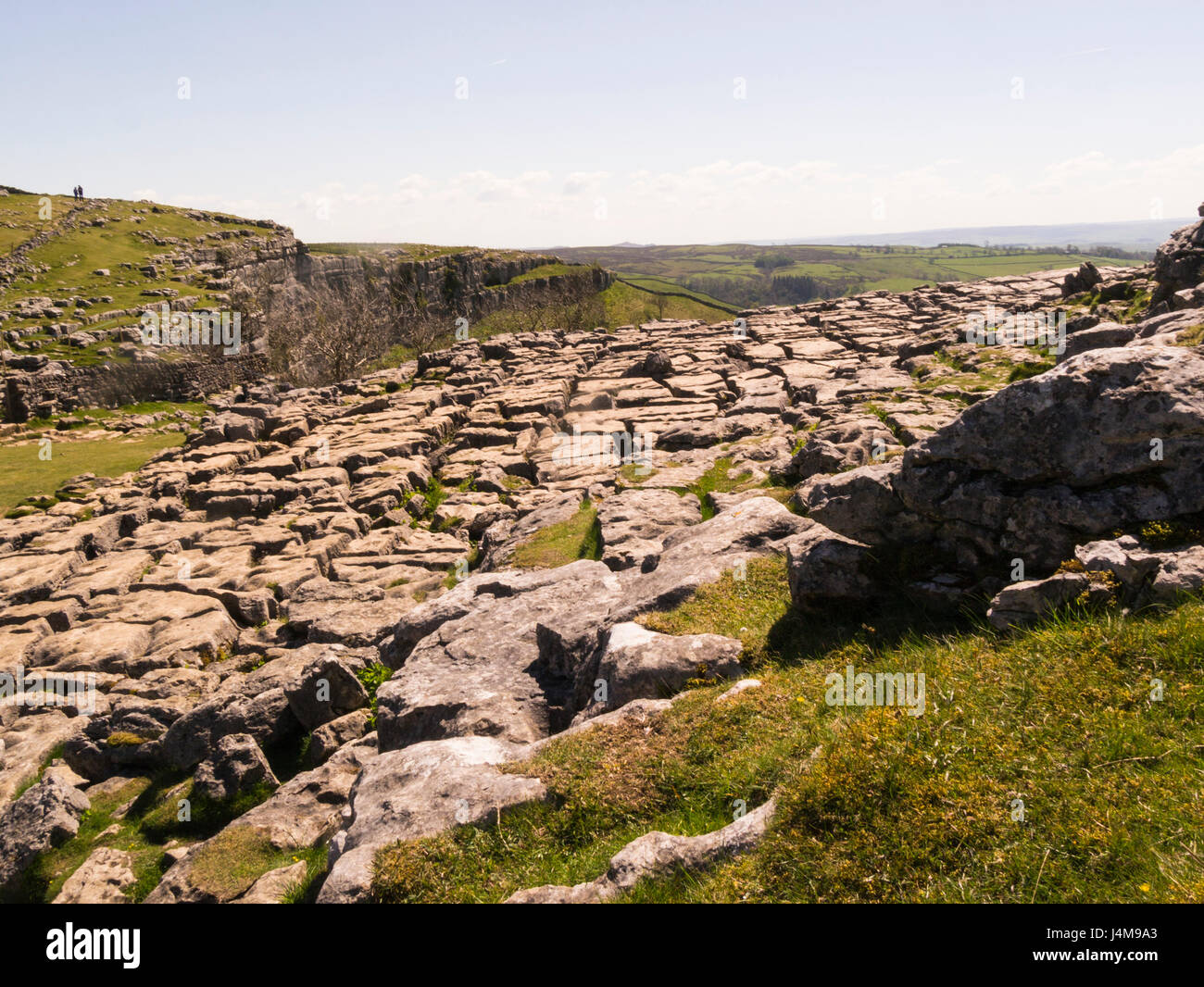 Limestone pavement Malham Cove North Yorkshire Yorkshire Dales National Park on a lovely May day weather blue sky - Stock Image