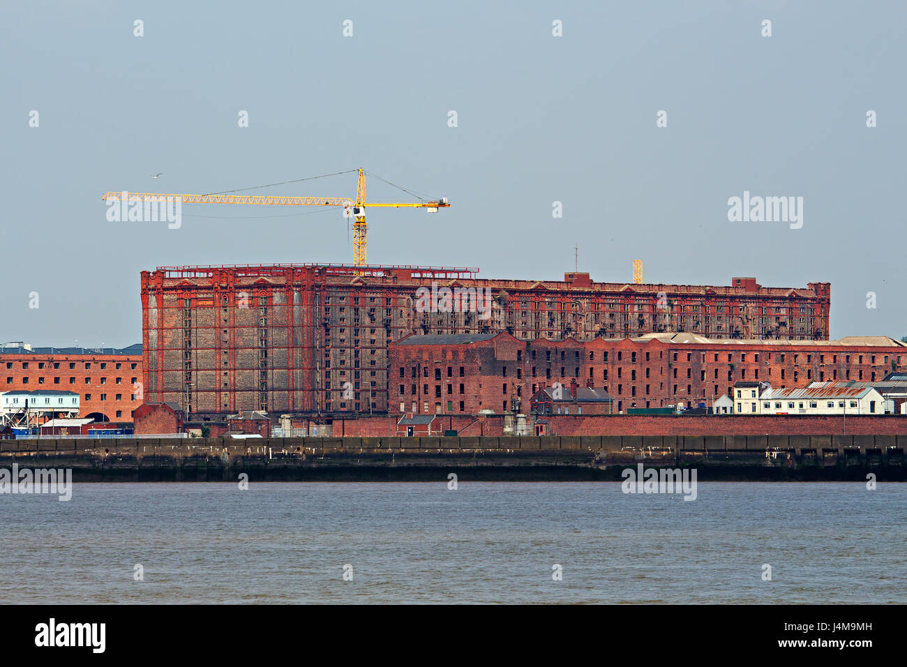 A view of Stanley Dock Tobacco Warehouse Liverpool taken from Seacombe Stock Photo