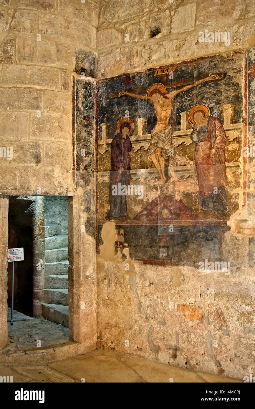 The Crucifixion fresco in Kolossi Castle, a former Crusader stronghold on the edge of Kolossi village, Limassol - Stock Image