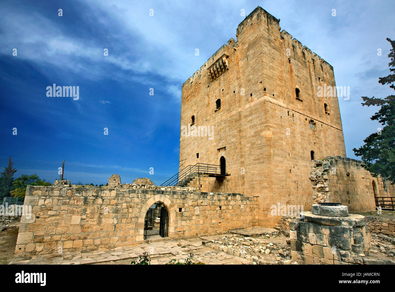 Kolossi Castle, a former Crusader stronghold on the south-west edge of Kolossi village, Limassol district, Cyprus - Stock Image