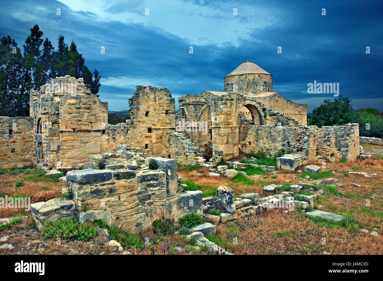 The byzantine church in the monastery of Timios Stavros ('Holy Cross'), close to Anogyra village, Cyprus. - Stock Image