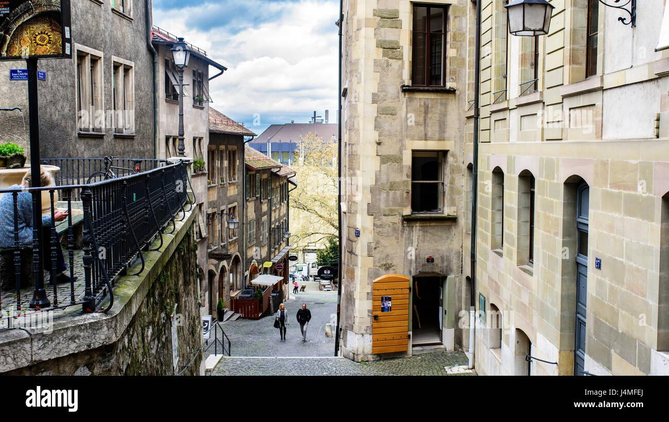 Geneva, Switzerland. April 13, 2016. View of Rue du Perron from the start of jean calvin street - Stock Image