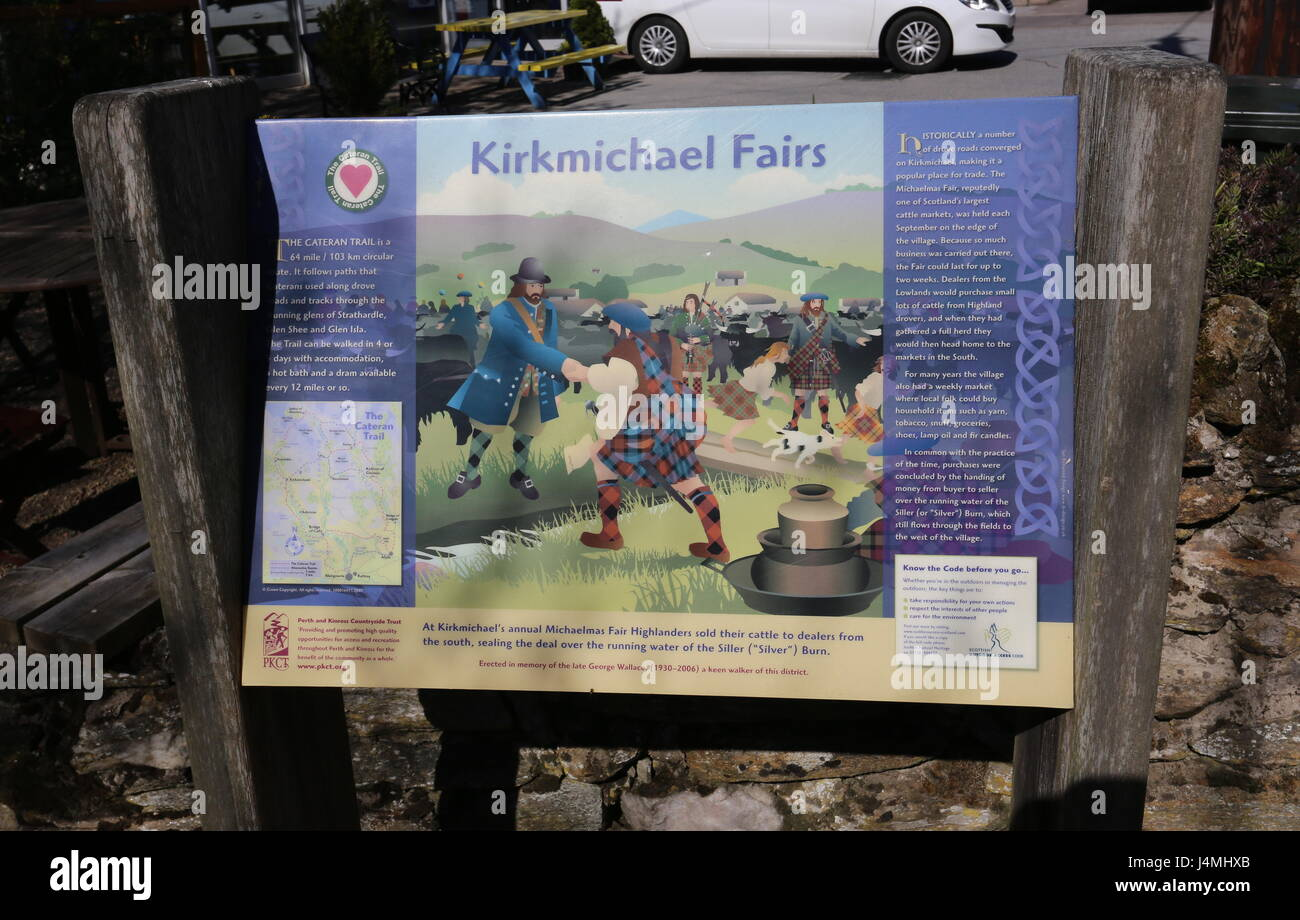 Information panel about Kirkmichael Fairs Kirkmichael Scotland May 2017 - Stock Image