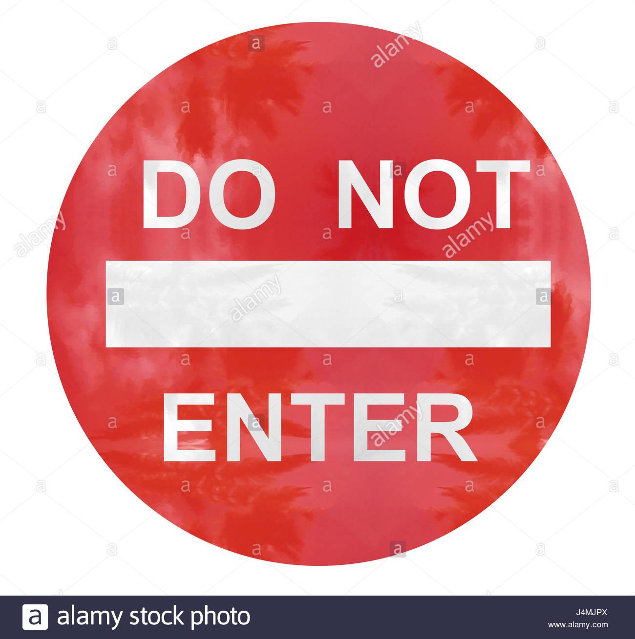 do not enter caution sign illustration - Stock Image