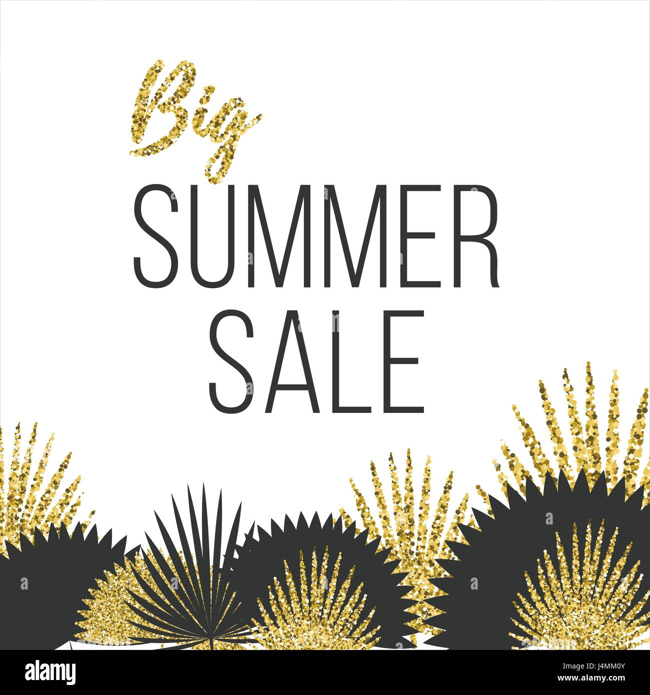 Summer sale Poster template with palm leaves Vector illustration The inscription Big summer sale on a white background - Stock Vector