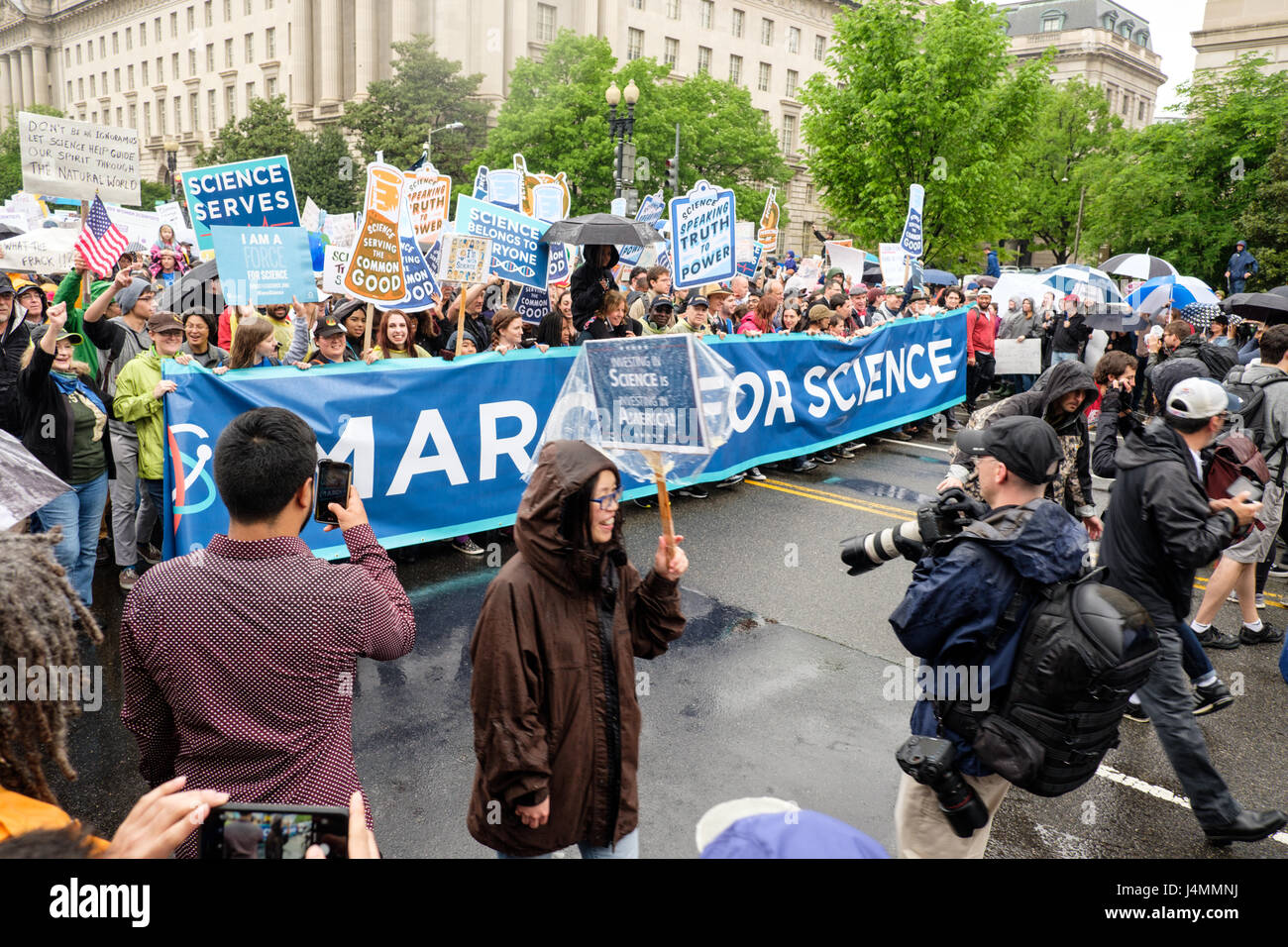 March for Science rally on Earth Day, Washington DC, USA, April 22, 2017. Activists and protesters marching along Stock Photo