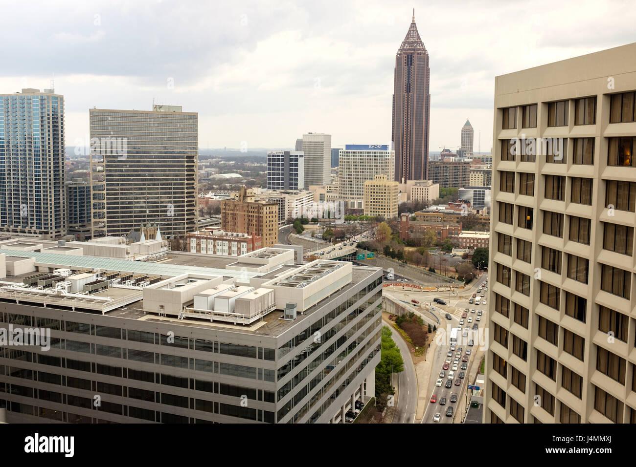 View from Hilton Hotel of Downtown Atlanta, Georgia, USA - Stock Image