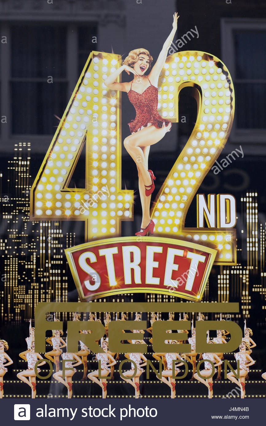 promotional poster advertising the musical 42nd Street - Stock Image