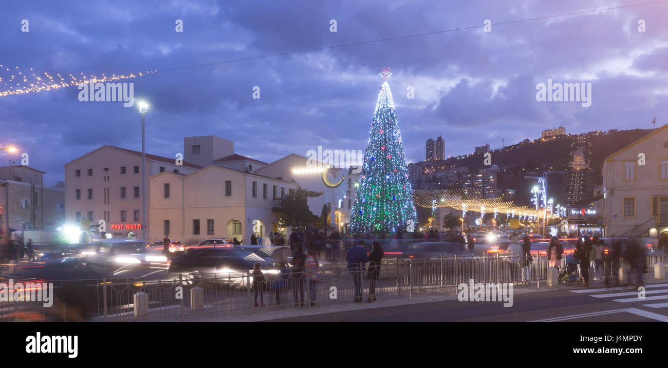 HAIFA, ISRAEL - DECEMBER 10, 2016: The German Colony decorated with symbols of cultures for the winter holidays - Stock Image
