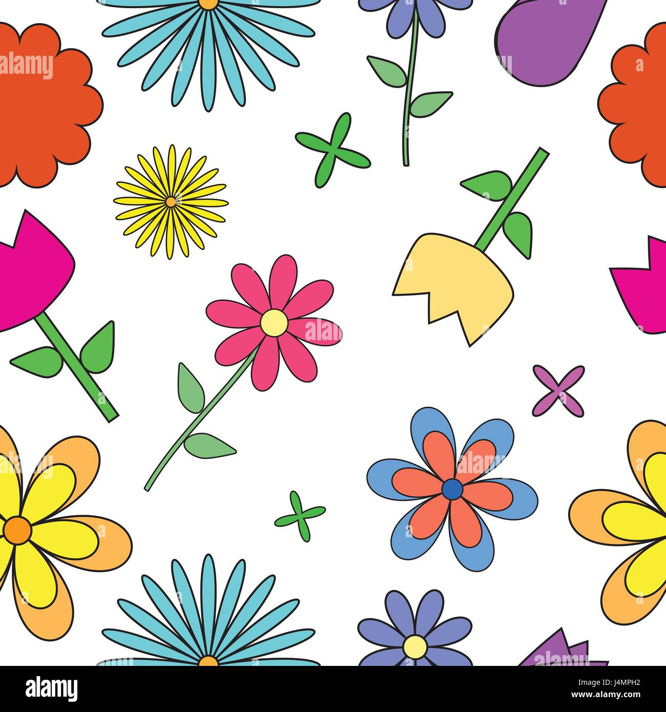 Simple floral pattern - Stock Image