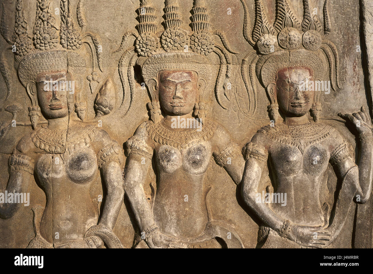Cambodia, Angkor Wat, temple, detail, relief Asia, South-East Asia, temple attachment, structure, architecture, - Stock Image