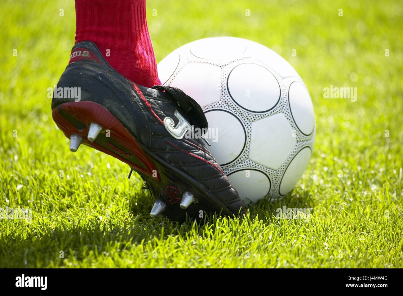 Turfs, football, player, detail, foot football match, football player, football boot, shoe, ball, sports device, - Stock Image