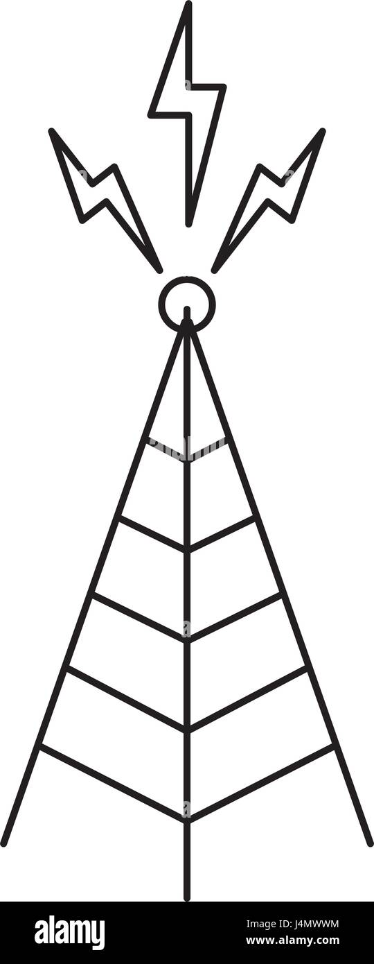 telecommunications signal transmitter. icon of tower broadcasting vector illustration - Stock Image