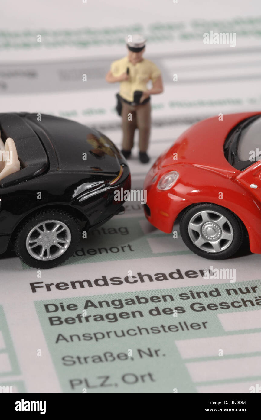 Traffic accident, damage protocol, character, policeman, icon, accident, traffic, traffic, form, damage regulation, - Stock Image