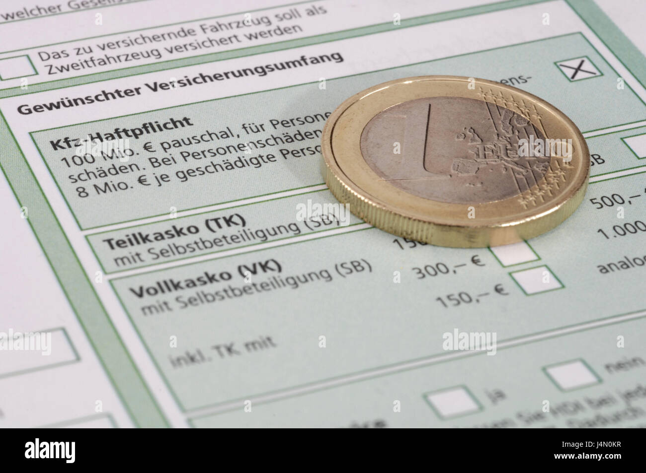 Form, vehicle insurance, euro of coin, icon, insurance, vehicle, auto insurance, driver, car, vehicle, insure, application, - Stock Image