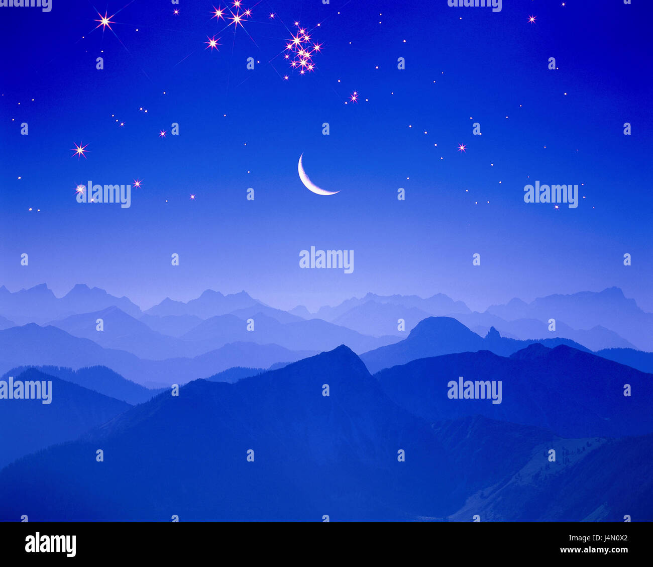 Germany, Bavaria, Bayrischzell, coil stone, view, Zugspitze, evening, moon, starry sky, [M], South Germany, Upper - Stock Image