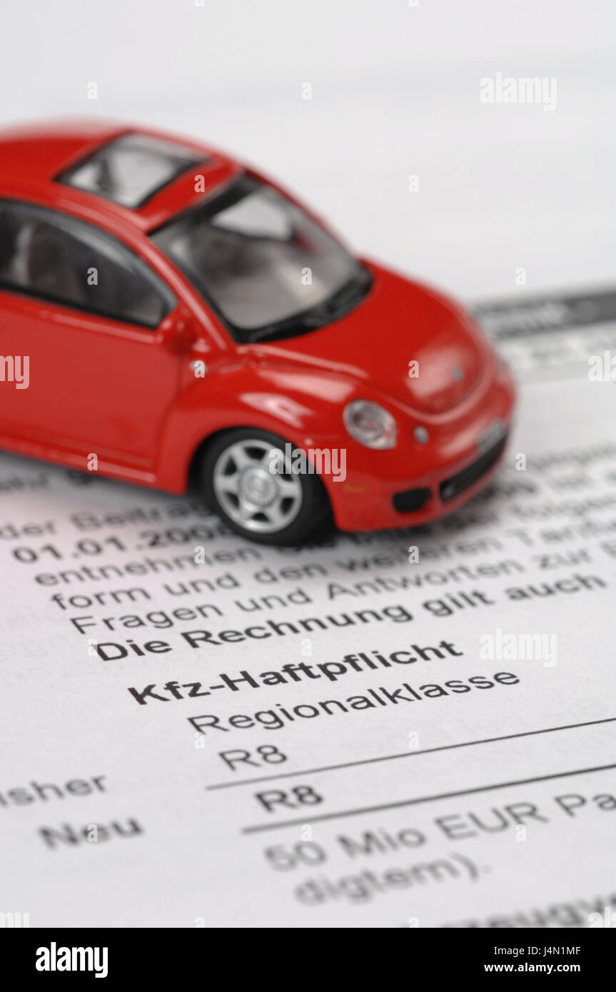 Form, vehicle liability, model car, insurance, car, vehicle, auto insurance, liability insurance, vehicle liability - Stock Image