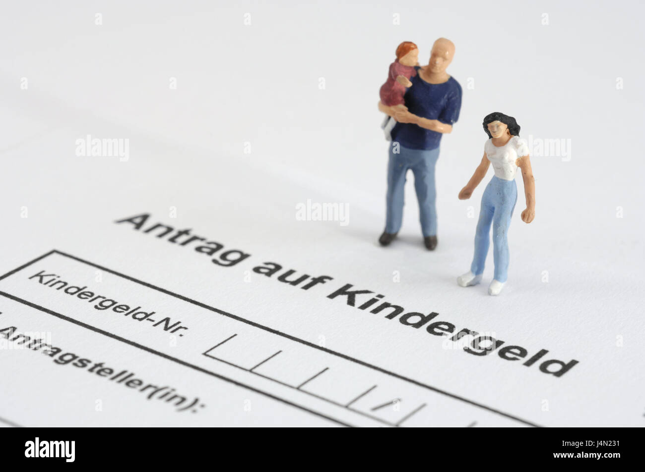 Form, application, child benefit, characters, family, model characters, payment, capacities, subsidy, family support, - Stock Image