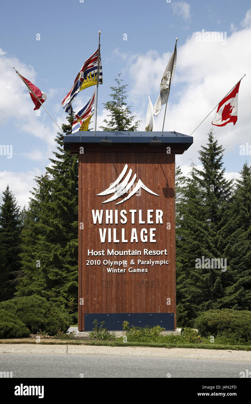Canada British Columbia Whistler Highway 99 Sign Olympic Games In 2010