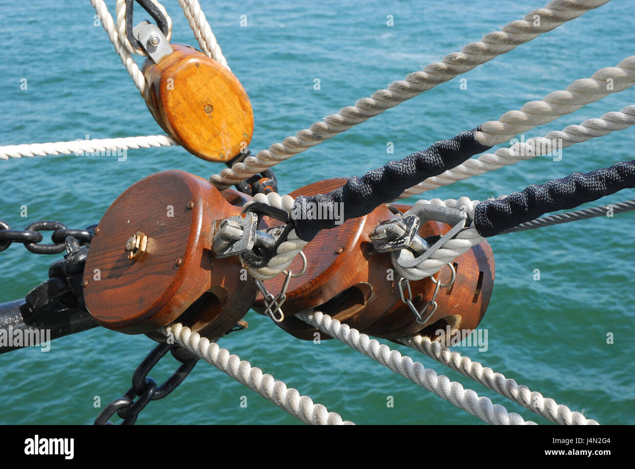 Sailing ship, tackles, ropes, block, sail school ship Gorch foresail, sea, medium close-up, detail, - Stock Image