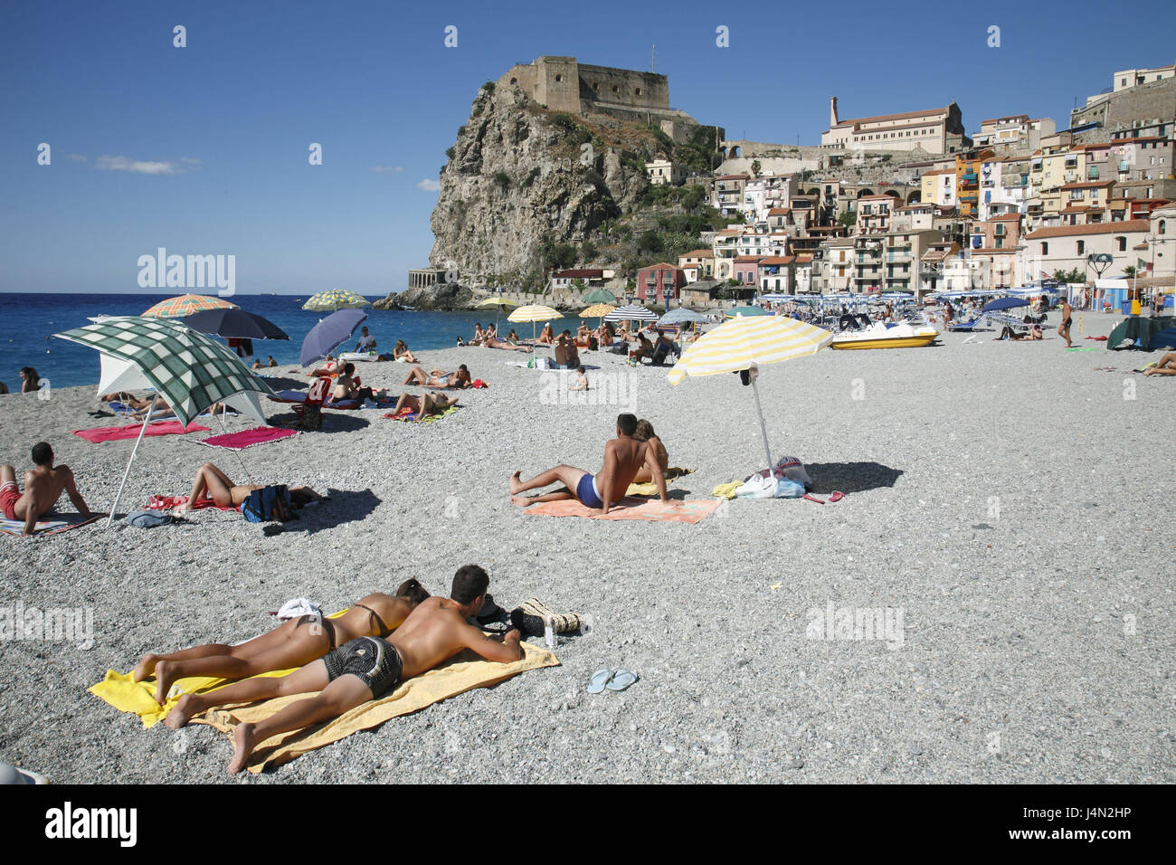 Italy, Calabria, Costa viola, Scilla, beach, tourist, local view, fortress, no model release, coast, place, beach, Stock Photo