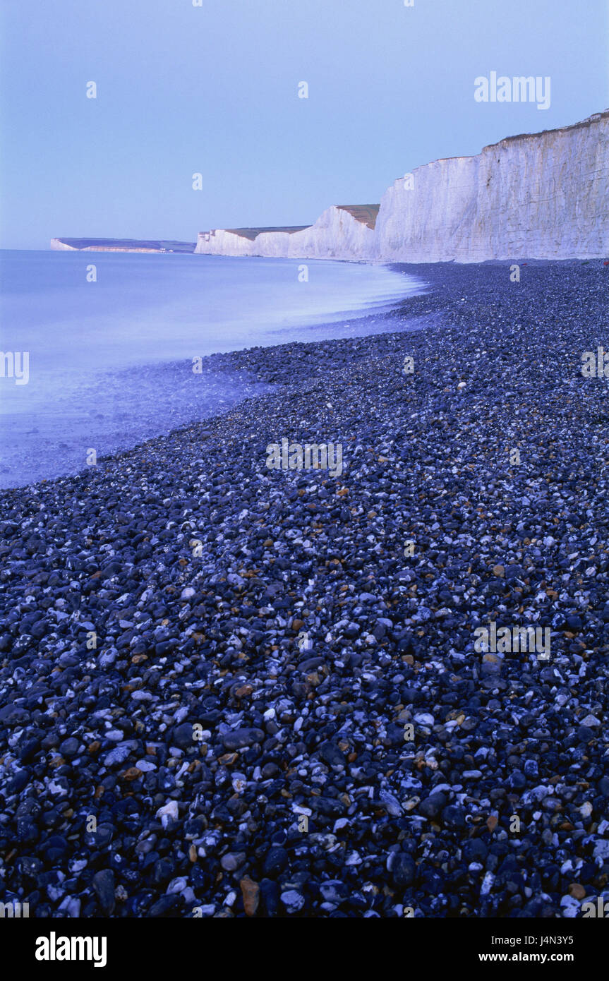 Great Britain, England, Sussex, Eastbourne, Seven Sisters, Beachy Head, rock, beach, evening, - Stock Image