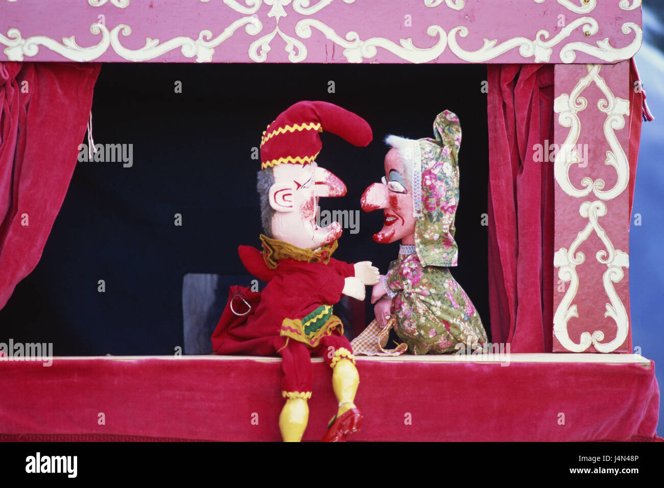 Puppet theatre, Kasperl, grandmother, - Stock Image