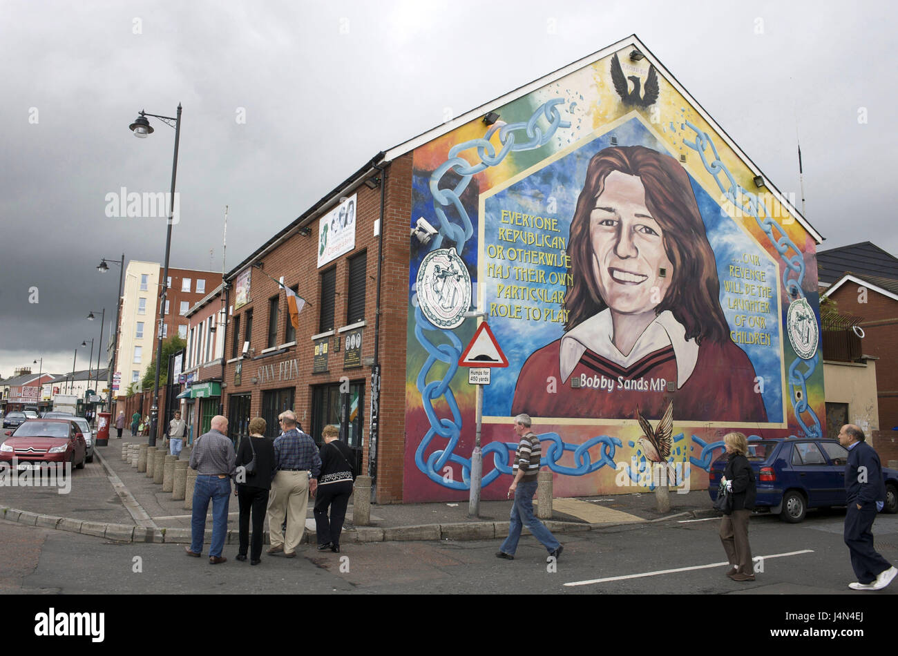 Northern Ireland, Ulster, county Antrim, Belfast, west Belfast, case Road, 'Bobby Sand' Mural, mural painting, - Stock Image
