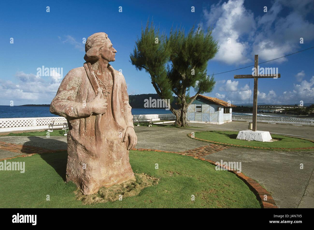 Cuba, Baracoa, Malecon, Columbus statue, summer, Central America ...