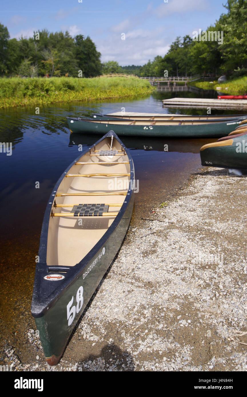 Riverside, canoes, detail, Mersey River, Kejimkujik Nationwide park, Nova Scotia, Canada, - Stock Image